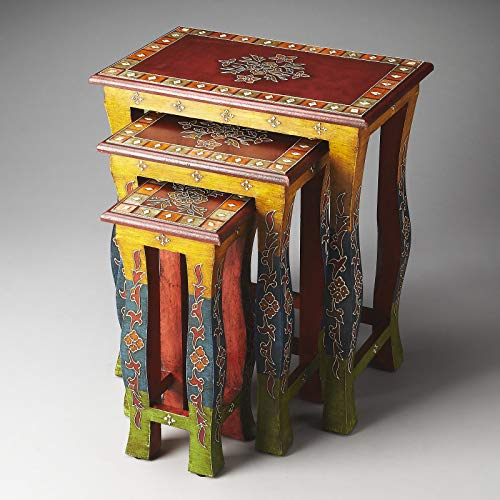 3 Nesting Tables, Sturdy and Durable Recycled Solid Wood Construction, Chinoiserie Decoration, Vivid Vibrant Colors with Decorative Overlays, Hand-Painted, Distressed Multi-Colored Finish