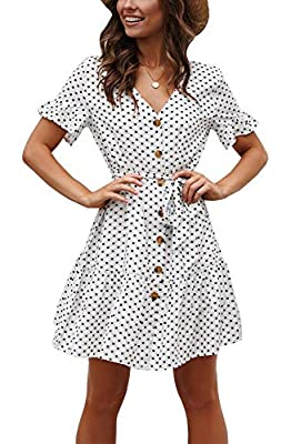 Women Pleated Polka Dot Short Sleeve Dresses Loose Swing Casual Beach Dress