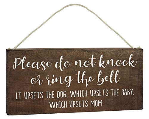 Funny Door Signs - Baby Sleeping Sign for Front Door - Funny No Soliciting 6x12 Hanging Wood Plaque - Please Do Not Knock or Don't Ring Doorbell Dogs Will Bark