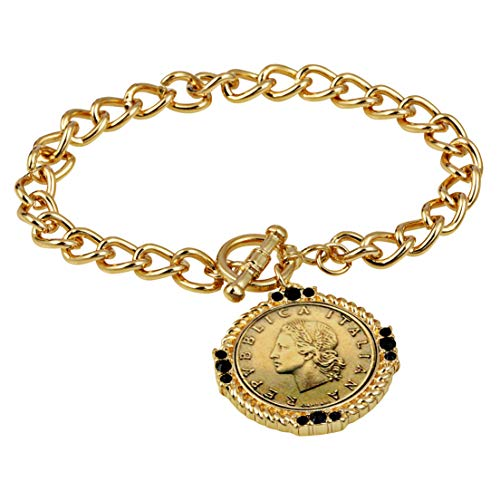 Jet Italian Charm - American Coin Treasures Italian 20 Lira Coin Toggle Charm Bracelet - Italian 20 Lire Goldtone Toggle Bracelet with Faceted Round Jet Glass Stones- Italian Medallion Bracelet