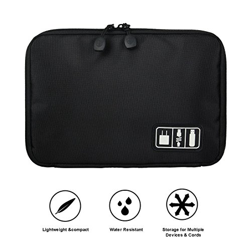 Black Cable Organizer Electronics Accessories Travel Bag USB Drive Bag Healthcare & Grooming Kit by BAIGIO (Image #1)