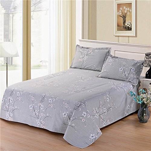 SANDM Ultra Soft Cool Bedding,Cottoncoarse Cloth Sheets Wrinkle Free Student Dormitory Linen Twin Bed Sheets-G 150x230cm(59x91inch)