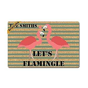 """Jiajufushi - Felpudo personalizable con texto """"Let's Flamingle Doormats Monogram antideslizante felpudo de tela no tejida alfombra de entrada interior alfombra de decoración"""