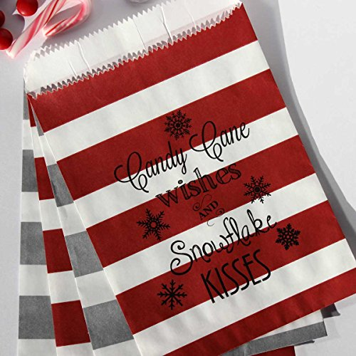 Bakers Bling Holiday Treat Bags with Stickers, Candy Cane Wishes and Snowflake Kisses, Red White and Silver Stripe Favor Bags, 5.5 x 7.5, Set of -