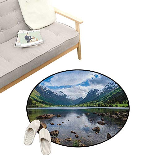 - Nature Round Rug ,Mountains River and Open Sky Natural Beauties Norway Fjords Nordic Landscape, Flannel Microfiber Non-Slip Soft Absorbent 23