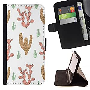 For Samsung Galaxy S5 Mini (Not S5), SM-G800 Case , Patrón Cactus Desierto Dibujo de la historieta- la tarjeta de Crédito Slots PU Funda de cuero Monedero caso cubierta de piel
