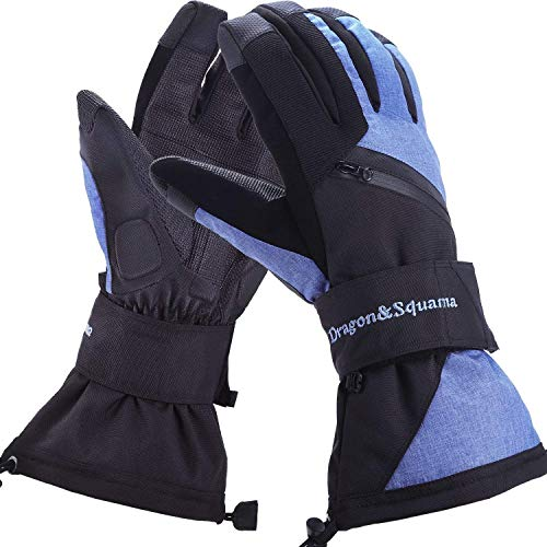 Dragon Squama Mens Ski Gloves, Waterproof 3M Thinsulate Thermal Warm Windproof Snow Sport Skiing Snowboarding, Winter Cold Weather Glove from Dragon Squama
