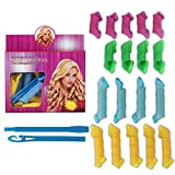 Hair Curlers Spiral Curls Styling Kit, 18 No Heat Hair Curlers and 2