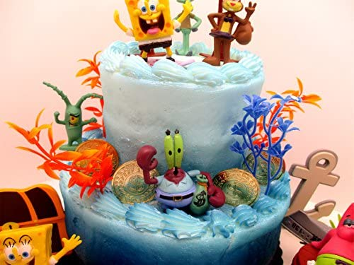 Amazon.com: Bob Esponja bajo el mar Deluxe juego de tarta de ...