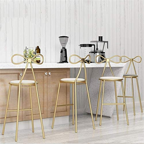WYYAF Barkrukken Barkrukje Keuken Pub Ontbijt Eetkamerstoel Counter Moderne Stijl Goud Metalen Frame Zachte Kussen Stoel Max Lading 130 kg (Wit Kussen)