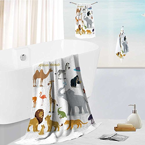 Zebra Camel (Homesonne Luxury 3-Piece 100% Combed Cotton Bath Towel Set african fauna species cute african animals flat vector southern predators camel zebra rhino Soft & Absorbent)