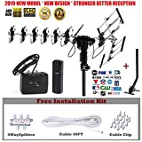 FiveStar Outdoor HD TV Antenna 2019 Newest Model Up To 200 Miles Range with Motorized 360 Degree Rotation, UHF/VHF/FM Radio with Infrared Remote Control Advanced Design With Installation Kit and Jpole