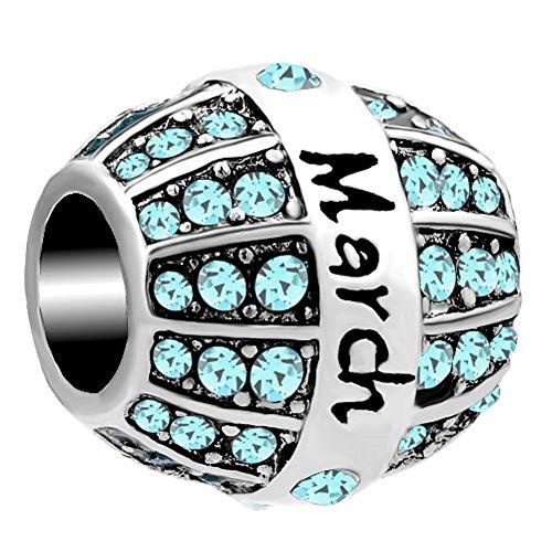 Q&Locket Jan-Dec Rhinestone Birthday Charms Spacer Charm Beads For Bracelets (Mar - Kids Del Mar