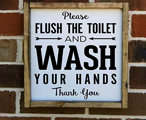 MaxwellYule Please Flush The Toilet and wash Your Hands Farmhouse Style Framed Sign Farmhouse Decor Bathroom Sign Decor