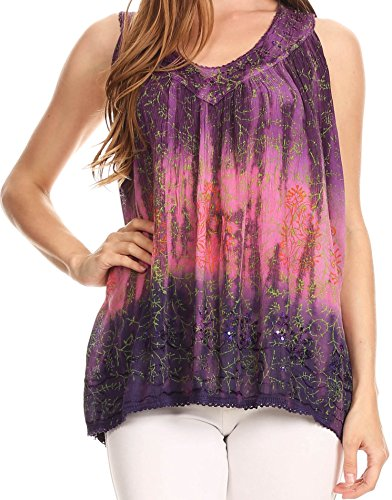 (Sakkas 17805 - Freya Dip Dyed Tie Dye Tank with Sequins and Embroidery - Pink - OS)