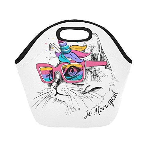 Insulated Neoprene Lunch Bag Cute Cat Unicorn Mask Rainbow Glasses Large Size Reusable Thermal Thick Lunch Tote Bags Lunch Boxes For Outdoor Work Office School -