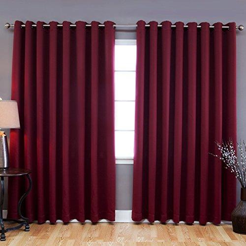 TWOPAGES® Solid Antique Bronze Grommet Top Burgundy Blackout Curtains 100″ W x 102″ L ( 1 Panel )