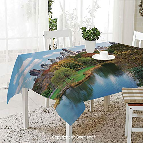 Large dustproof Waterproof Tablecloth,Family Table Decoration,New York,Central Park in Autumn with Lake Trees and Manhattan USA American Nature Image,Multicolor,70 x 104 inches
