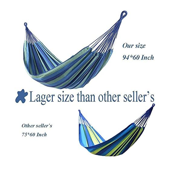 ONCLOUD Extra Long and Wide Double Hammock for Travel Camping Backyard, Porch, Outdoor or Indoor Use, Carrying Pouch Included (Blue/Green Stripes) - Upgraded Size: Wider, 142 * 63 inches in overall size and 94 * 63 inches in bed size. We listen to customers' voice and make an effort to make the hammock longer and wider to make it more comfortable. Static capacity: Can hold up to 450 pounds safely. Durability: Robust construction with soft cotton and well-made thick polyester fabric. - patio-furniture, patio, hammocks - 51vakZe5wCL. SS570  -