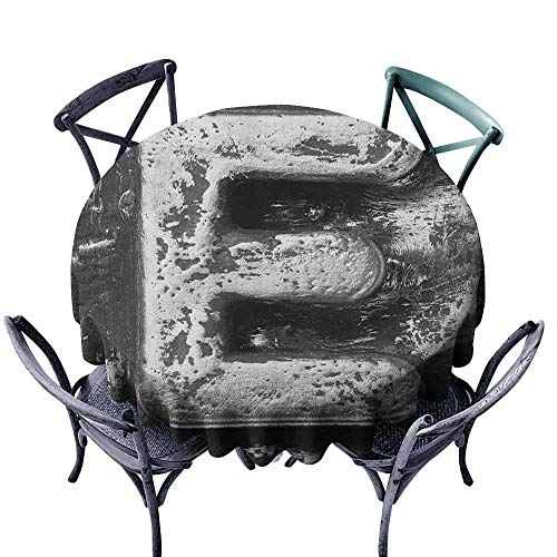 Mannwarehouse Letter E Polyester Tablecloth Aluminum Colored Decayed Uppercase E Alphabet Character Nostalgic Medieval Initials Indoor Outdoor Camping Picnic D71 Grey (Alphabet Greek Uppercase)