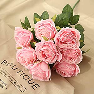 Jasion Artificial Roses Flowers 10 Heads Arrangement Silk Bouquet Glorious Moral for Home Office Parties and Wedding Decoration (Pink) 110