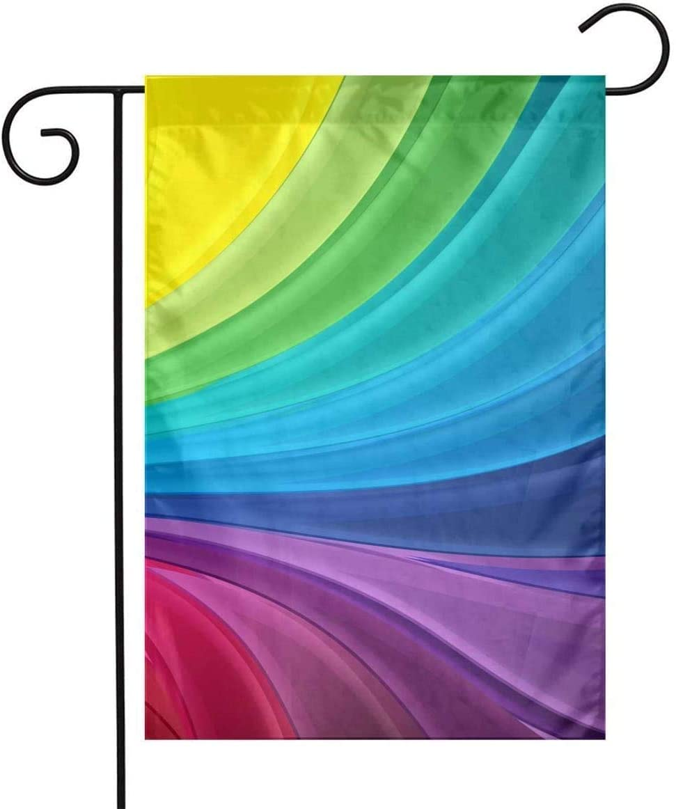 Smal Garden Flags Spring Banner Decorating Your House Family Part Decoration Double-Sided Lawn Sign 12×18 Rainbow Stripes Abstract Wave