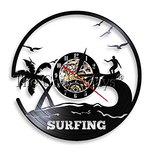 Surfing Art Vinyl Record Wall Clock Surf Wall Decor Windsurfing Surf Board Surf Riding Sea View Clock Wall Gift For Surfers (Without - Different Boards Surf Of Types