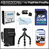 Essentials Accessory Kit Includes 32GB High Speed SD Memory card + Extended Replacement NP-50 (1100 mAH) Battery + Ac/Dc Rapid Travel Battery Charger + USB 2.0 High Speed Card Reader + Gripster + More For The Fujifilm FinePix Real 3D W3