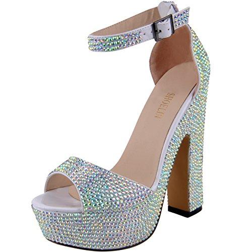 SHOELIN Silver Heels, Luxury Ankle Strap Handmade Crystal Glitter Party Dress High Heels by (Toe Peep Sexy Shoe)