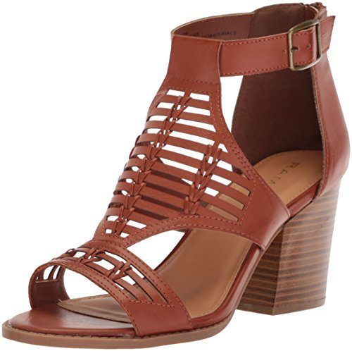 Rampage Open Toe Heels - Rampage Women's Elvie Caged Open Toe Chunky Heel Sandal Heeled, Cognac Burnished, 6.5 Medium US