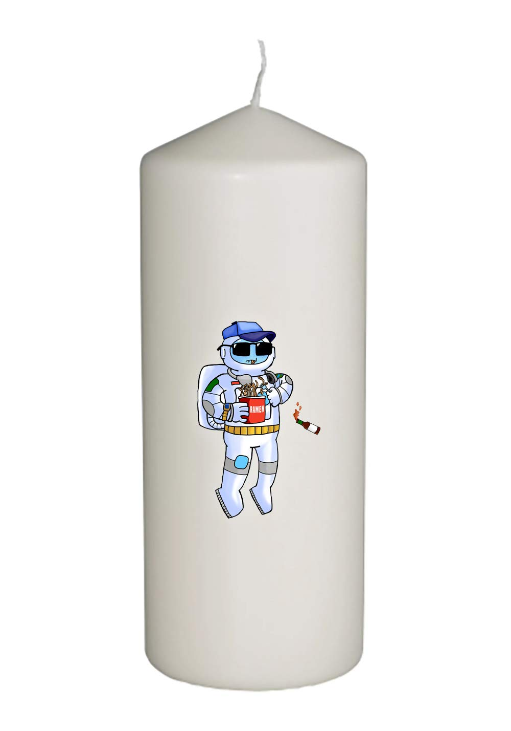 Cool Floating Astronaut Eating Ramen with Hot Sauce Thick White in Full Color Unity Candle - Wedding, Baptism, Funeral, Special Event Decoration (6 inches Tall)
