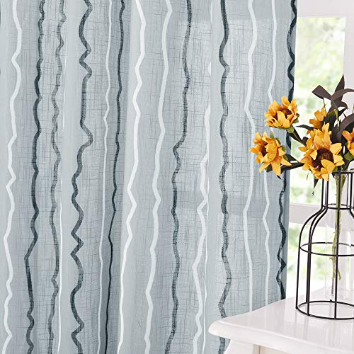 KGORGE Striped Line Sheer Drapes - Linen Texture Fabric Semi-Translucent Voile Curtains for Living Room Bedroom Kids Nursery Home Office Decor, Grey, 52 inches Wide x 84 Inches Long, 2 Panels from KGORGE