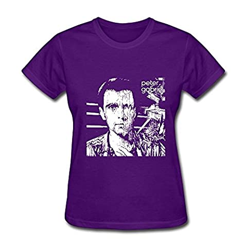 HUBA Women's T Shirt Peter Gabriel Purple Size L (Roku Purple)