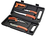 RUKO RUK0132 Fish & Game Processing Kit with Handle & Black Hard Nylon Case (6 Piece), Blaze Orange