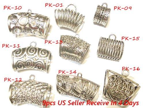 (Scarf Bails Wholesale Metal Bails 9 Style 9pcs Scarf Bails Tubes Fit Scarf Pendants DIY)