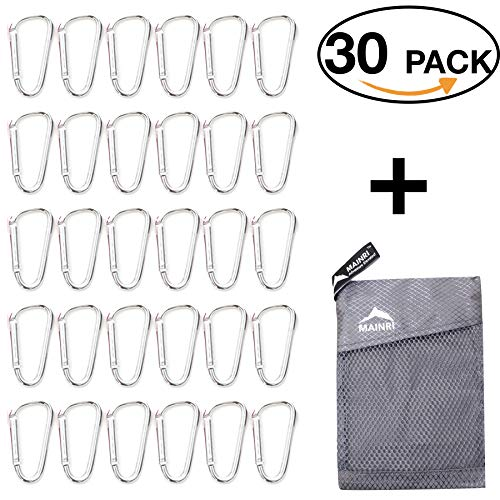 30 PACK SILVER 1.85'' Carabiner Clip Keychain small carabiner Mini D ring Carabiners Snap Hook Carabeaner Clip carabiner clips keyring camping light hook accessories carabeaners small Backpack clip