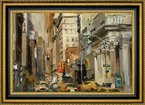 """Union Square NY by Marilyn Hageman - 23.25"""" x 31.25"""" Gold and Black Framed Giclee Canvas Art Print - Ready to Hang"""