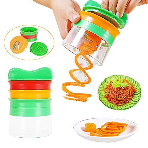 - JDgoods Handheld Spiral Vegetable Fruit Slicer Cutter with 3 Cutting Heads Grater Twister Peeler Kitchen Gadgets Tools