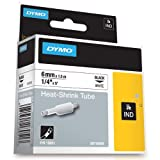 DYMO Authentic Industrial Heat Shrink Tubes for  LabelWriter and Industrial Label Makers, Black on White, 1/4'', (18051)