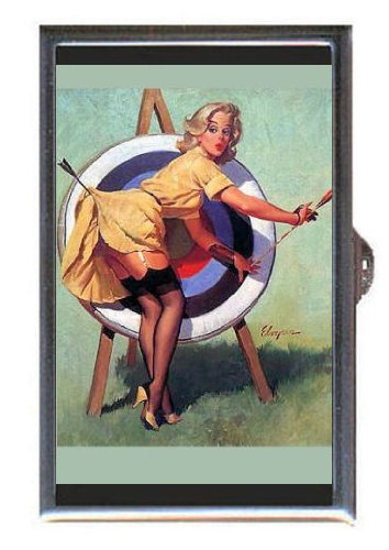 Guitar Bullseye (Pin Up Blonde Girl Archery Bullseye Guitar Pick or Pill Box USA Made)