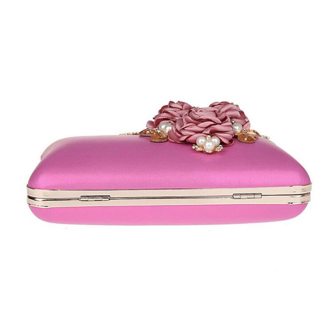 EPLAZA Women Large Capacity Flora Evening Clutch Bags Wedding Party Purse Handbags Wallet (rose red) by EPLAZA (Image #3)