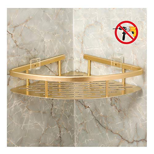 Bearstar 2-Pack Triangle Aluminum Bathroom Show Shelf,No Drilling Polished Golden by Bearstar