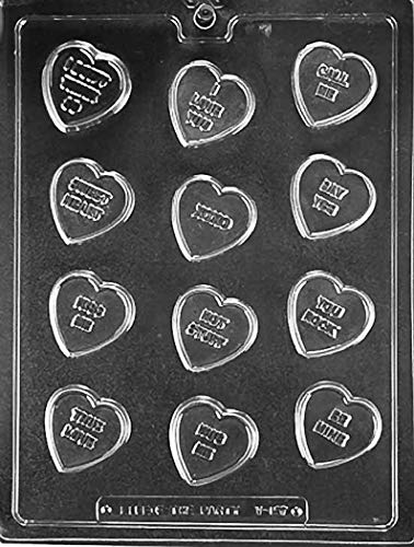 (Conversation Valentine Hearts Chocolate Mold - V157 - Includes Melting & Chocolate Molding Instructions)