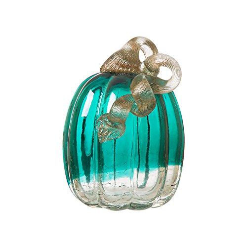 Glitzhome Glass Pumpkin, 5.52 Inch, Turquoise
