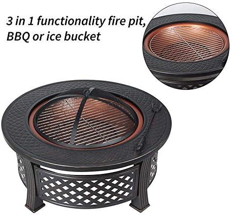 HLEZ Brasero Exterieur, Foyer avec Grill, Barbecue Braséro avec Couvercle et Crochets pour Suspendre Les Ustensiles à Barbecue Acier, Noir