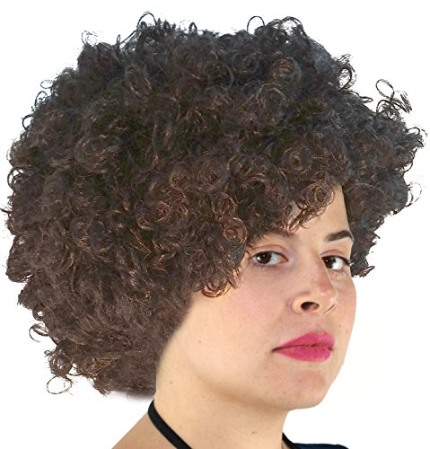 Bob Ross Wig kaepernick Wig Brown Curly Big Afro Costume Wig Funky 70s Style for Men and (Curly Costumes)