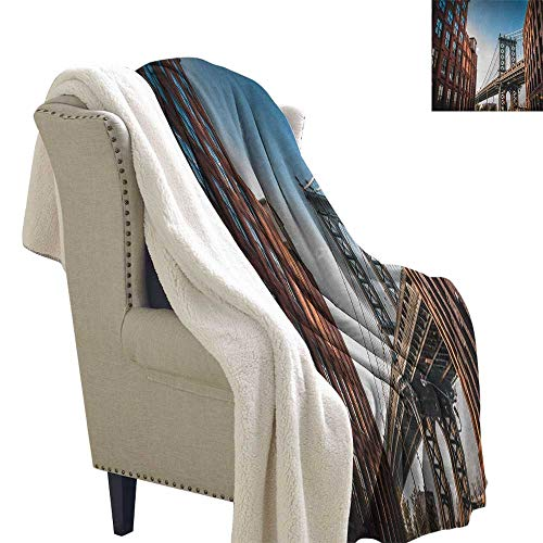 Suchashome New York Fleece Blanket Manhattan Bridge Seen from Narrow Alley Island Borough Globally Influential Town NYC Lightweight Fluffy Flannel and Sherpa Blanket 60x32 Inch Blue Red