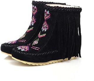 Ankel Boots Femmes Round Toe Seude Shoelace Tassel Broderie Bottes plates Bottes courtes Chaussures décontractées 2017 Auturm Winter New Eu Taille 34-43 ( Color : Black , Size : 34 )