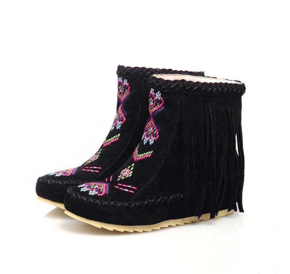 Ankel Boots Femmes Round Toe Seude Shoelace Tassel Broderie Bottes plates Bottes courtes Chaussures décontractées 2017 Auturm Winter New Eu Taille 34-43 ( Color : Black , Size : 35 )