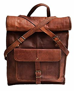 """Amazon.com: 23"""" large Genuine leather backpack for laptop"""